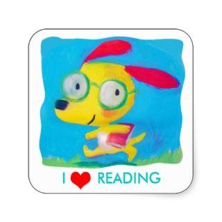 love reading square sticker