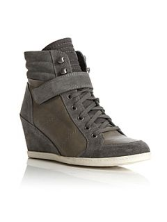 Dune Lineker Wedge Suede Leather Trainer Shoes Grey