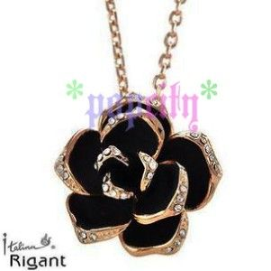 Sexy 18K Gold GP Austrian Swarovski Crystal Black Rose Necklace