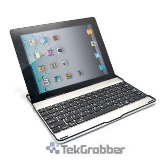 Bluetooth Wireless Aluminum Keyboard Case Stand Black Silver