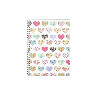 Cute Vintage Floral Hearts Quilt Pattern Spiral Note Books