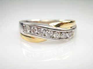 Certified 14k White Yellow Gold Mens Diamond Wedding Band Ring