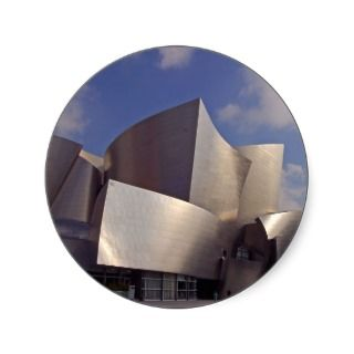 Walt Disney Concert Hall In Los Angeles Round Stickers
