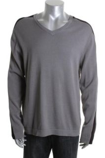 Kenneth Cole Give Me A V New Gray V Neck Ribbed Stripe Sleeve Sweater