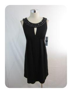 New London Times Black Beaded Keyhole Empire Jersey Dress 2 $90