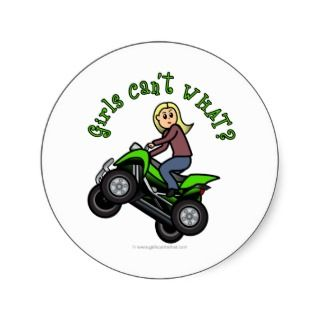 Blonde Woman ATV  Four Wheeler Driver Stickers