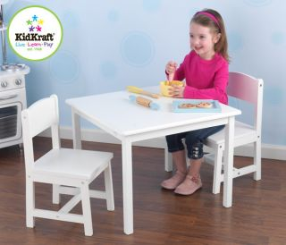 New Kids Table & 2 Chairs White Wood Wooden Childrens Furniture Set