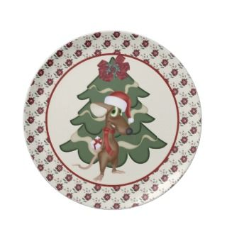 Cute Christmas Mouse Christmas Plate