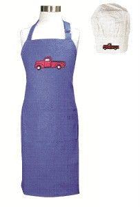 Kids Kitchen Apron and Chefs Hat Set Blue Truckster