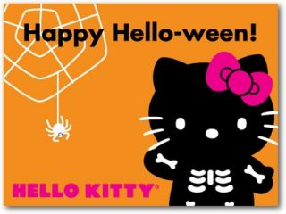 Press On Hello Kitty Halloween 20 Nails, Ghosts Gouls, Sanrio, Glow in