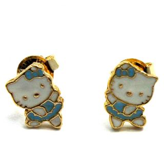 Gold 18K GF Earrings Blue Hello Kitty Ballerina Girl Baby Kids Toddler