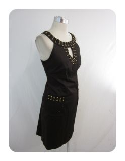 Directions Espresso Brown Stretch Cotton Keyhole Sheath Dress 6 $86