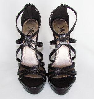 Kim Kardashian Kollection Black Python Platform Strappy High Heel