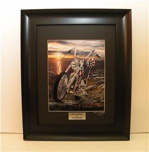 MOTORCYCLE ART Easy Rider Harley Davidson Captain America Ltd Ed Frame