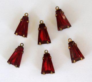 Vintage 6 Ruby Red Glass Keystone Shape Bead Pendant Drop 5x8mm