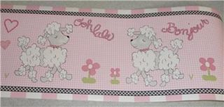 New Kimberly Grant Ooh La La Pink Poodle Wall Border