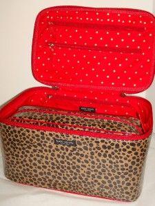 Kate Spade Colin Killington Leopard 2 PC Cosmetic Travel Makeup Case