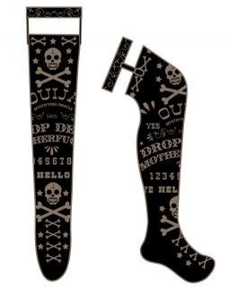 Too Fast Gothic Punk Emo Ouija Tattoo Rockabilly Garter Socks
