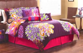 Flowers Pink Purple Twin Full Queen King Comforter Bedding Set