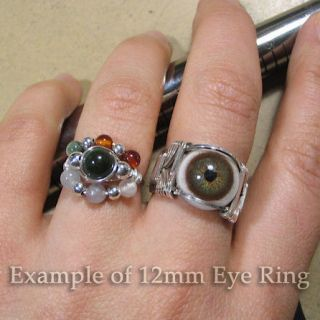 Hazel Glass Eye Eyeball Sterling Silver Wire Wrapped Ring Any Size