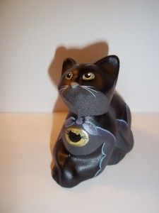 Fenton Glass Black Catman Batman Costume Perky Cat Halloween