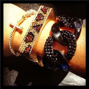 Celebrity Square Block Leopard Crystal Rhinstone Metal Hinged Bracelet