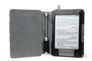 LEATHER FOLIO CASE WITH READING LIGHT FOR NEW  KINDLE 4 READER