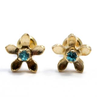 Gold 18K GF Earrings Kids Girl High Security Baby Blue Austrian