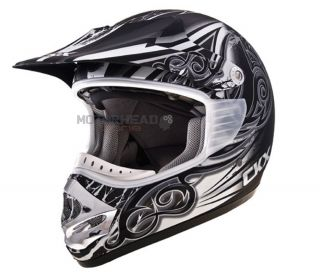 ATV Offroad Dirt Bike MX Helmet 2XLarge Black Silver White Mat TX 218
