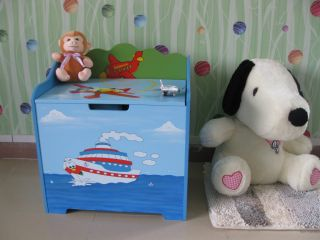 painted Bright Color Toddler Storage Box/Bench Kids Room Furniture