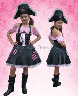 Kids Childrens Girls Pirate Costume Fany Dress 8 10