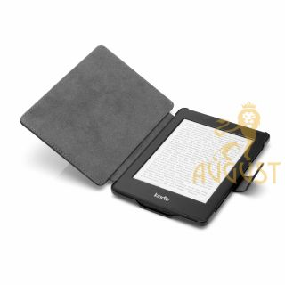BLACK LEATHER HARD COVER CASE FOR  KINDLE PAPERWHITE + FAST