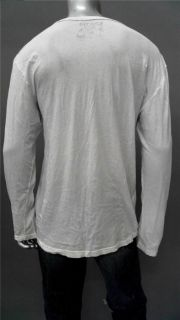Kinetix Mens 2XL White Cotton Basic T Shirt Tee Long Sleeve Solid