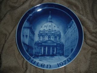 Danmark Marmorkirken 1970 Julen Christmas Danish Blue Porcelain Plate