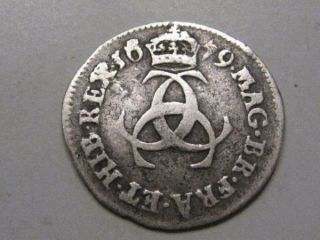 1679 King Charles II Sterling Silver 3 Pence Great Britain