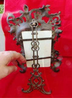 antique Rococo style cast bronze frame&photo King Ferdinand I Bulgaria