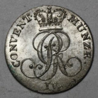 AU UNC Silver 4 Pfennig George IV King of Great Britain