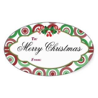 Oval Christmas candy cane gift tag Sticker