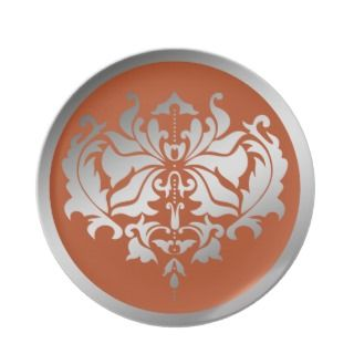 Silver and Burnt Orange Damask Party Plates