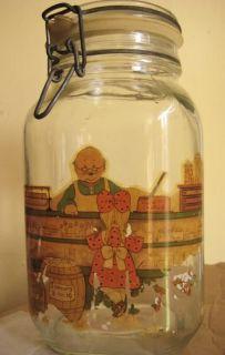 Vintage Kilner Ravenhead Clip Top Storage Glass Jar Container Decal