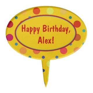 Yellow Polka Dot Personalized Birthday Cake Topper