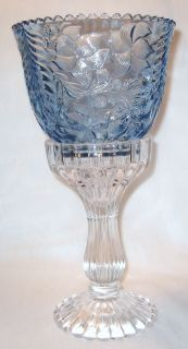 Ice Blue Dogwood Pattern Glass Candle Lamp Fairy Lamp