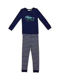 Mini ZZZ Boy`s fun stripe knit pyjamas set Navy