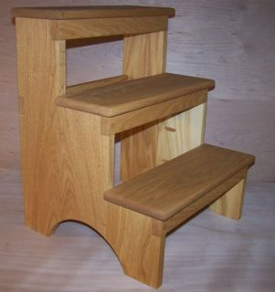 Oak Wood Shaker Step Stool Kitchen Living Room Bedroom