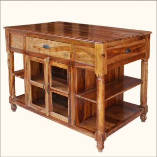 Butcher Top Storage Drawers Cabinets Kitchen Cart Counter Island Table
