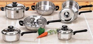 Cookware Set 17 PC Piece Surgical Stainless Steel Cooking Pot Pan