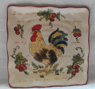 Country Kitchen Rooster 9 Plate Dish Decoration Decor New