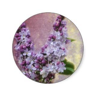 Love Letter V Lilac Flowers Sticker Seals