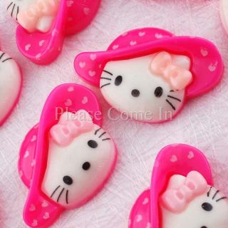 100 Kawaii Resin Kitty Cat in Hot Pink Hat Cabochon