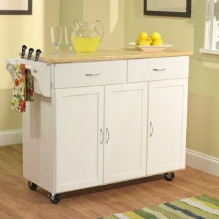 TMS Extra Large Kitchen Cart with Wood Top in White 60048WHT